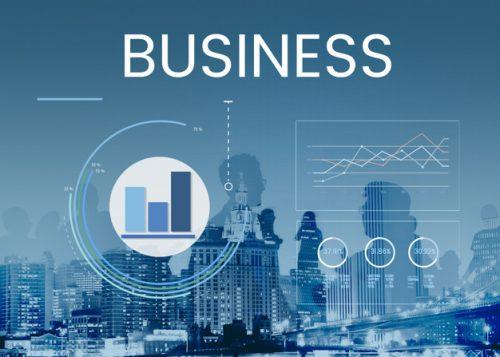 business felirat egy adatelemző monitoron
