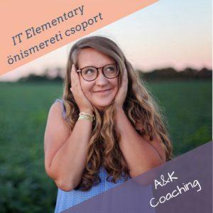 Az IT Elementary csoport tagja, egy szemüveges fiatal lány, áll a réten és mosolyog