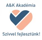 A&K Akadémia logója - barack szív kék pipa - szívvel fejlesztünk